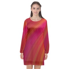 Abstract Red Background Fractal Long Sleeve Chiffon Shift Dress