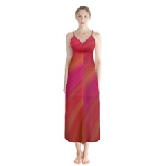 Abstract Red Background Fractal Button Up Chiffon Maxi Dress