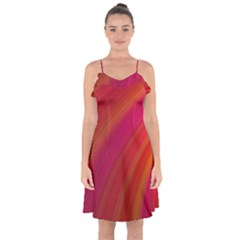 Abstract Red Background Fractal Ruffle Detail Chiffon Dress