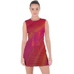 Abstract Red Background Fractal Lace Up Front Bodycon Dress