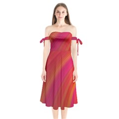 Abstract Red Background Fractal Shoulder Tie Bardot Midi Dress