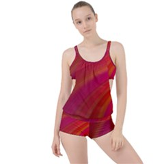 Abstract Red Background Fractal Boyleg Tankini Set