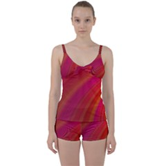 Abstract Red Background Fractal Tie Front Two Piece Tankini