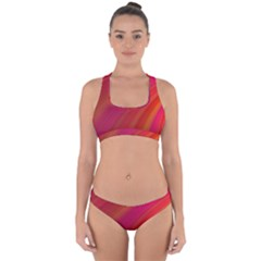 Abstract Red Background Fractal Cross Back Hipster Bikini Set