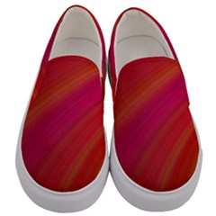 Abstract Red Background Fractal Men s Canvas Slip Ons