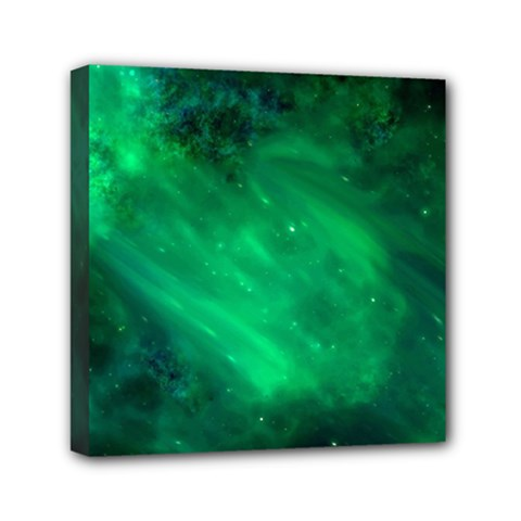 Green Space All Universe Cosmos Galaxy Mini Canvas 6  X 6  by Nexatart