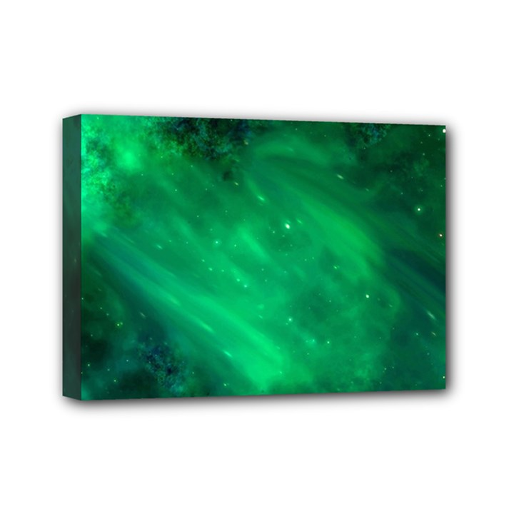 Green Space All Universe Cosmos Galaxy Mini Canvas 7  x 5