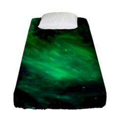 Green Space All Universe Cosmos Galaxy Fitted Sheet (single Size) by Nexatart