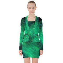 Green Space All Universe Cosmos Galaxy V Neck Bodycon Long Sleeve Dress