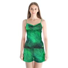 Green Space All Universe Cosmos Galaxy Satin Pajamas Set by Nexatart