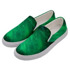 Green Space All Universe Cosmos Galaxy Men s Canvas Slip Ons by Nexatart