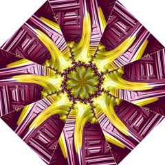 Yellow Magenta Abstract Fractal Hook Handle Umbrellas (medium)