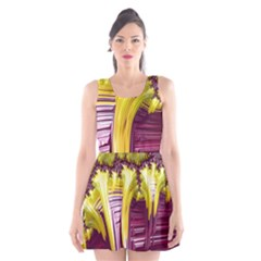 Yellow Magenta Abstract Fractal Scoop Neck Skater Dress