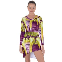 Yellow Magenta Abstract Fractal Asymmetric Cut Out Shift Dress
