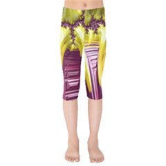 Yellow Magenta Abstract Fractal Kids  Capri Leggings  by Nexatart