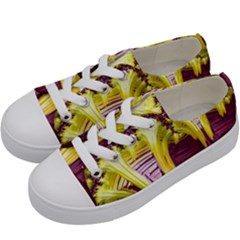 Yellow Magenta Abstract Fractal Kids  Low Top Canvas Sneakers by Nexatart