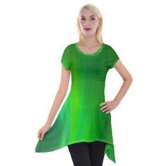 Green Background Abstract Color Short Sleeve Side Drop Tunic