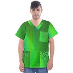 Green Background Abstract Color Men s V-neck Scrub Top