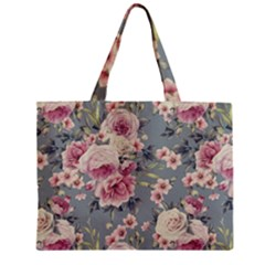 Pink Flower Seamless Design Floral Zipper Mini Tote Bag