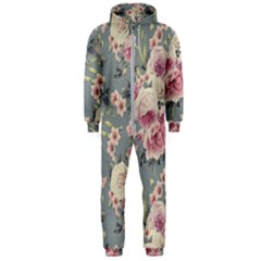 Pink Flower Seamless Design Floral Hooded Jumpsuit (men)