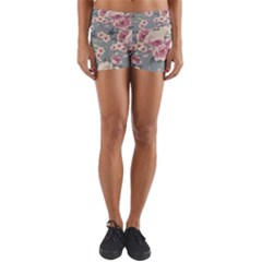 Pink Flower Seamless Design Floral Yoga Shorts