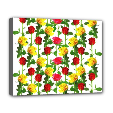 Rose Pattern Roses Background Image Deluxe Canvas 20  X 16   by Nexatart