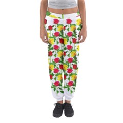 Rose Pattern Roses Background Image Women s Jogger Sweatpants