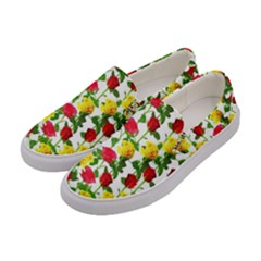 Rose Pattern Roses Background Image Women s Canvas Slip Ons by Nexatart