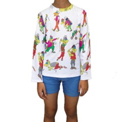 Golfers Athletes Kids  Long Sleeve Swimwear by Nexatart