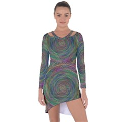 Spiral Spin Background Artwork Asymmetric Cut Out Shift Dress by Nexatart
