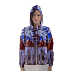 Steeple Church Building Sky Great Hooded Wind Breaker (women)