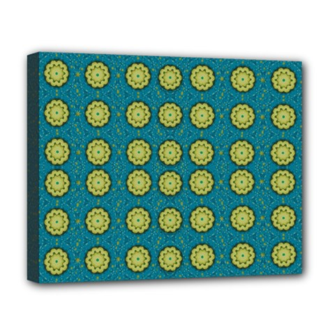 Sunshine Mandalas On Blue Deluxe Canvas 20  X 16   by pepitasart