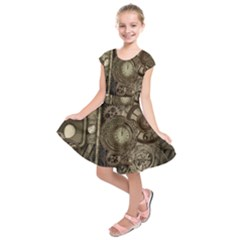 Stemapunk Design With Clocks And Gears Kids  Short Sleeve Dress
