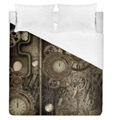 Stemapunk Design With Clocks And Gears Duvet Cover (queen Size) by FantasyWorld7
