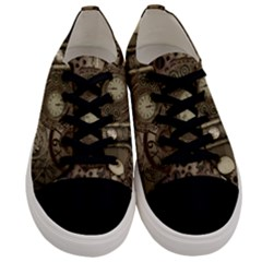 Stemapunk Design With Clocks And Gears Men s Low Top Canvas Sneakers