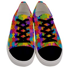 Funny Colorful Purple Pink Orange Yellow Blue Solved Jigsaw Puzzle Men s Low Top Canvas Sneakers