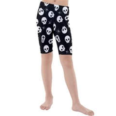 Skull, Spider And Chest    Halloween Pattern Kids  Mid Length Swim Shorts