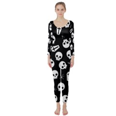 Skull, Spider And Chest    Halloween Pattern Long Sleeve Catsuit