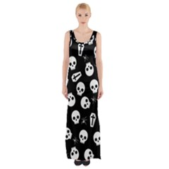 Skull, Spider And Chest    Halloween Pattern Maxi Thigh Split Dress