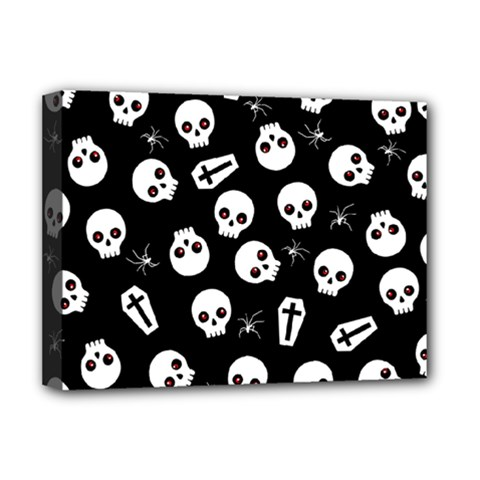 Skull, Spider And Chest    Halloween Pattern Deluxe Canvas 16  X 12   by Valentinaart