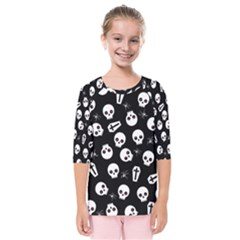 Skull, Spider And Chest    Halloween Pattern Kids  Quarter Sleeve Raglan Tee
