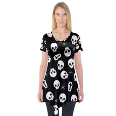 Skull, Spider And Chest    Halloween Pattern Short Sleeve Tunic  by Valentinaart