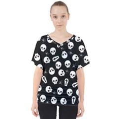 Skull, Spider And Chest    Halloween Pattern V Neck Dolman Drape Top