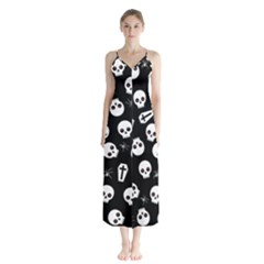 Skull, Spider And Chest  - Halloween Pattern Button Up Chiffon Maxi Dress by Valentinaart