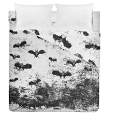 Vintage Halloween Bat Pattern Duvet Cover Double Side (queen Size) by Valentinaart