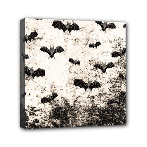 Vintage Halloween Bat Pattern Mini Canvas 6  X 6  by Valentinaart
