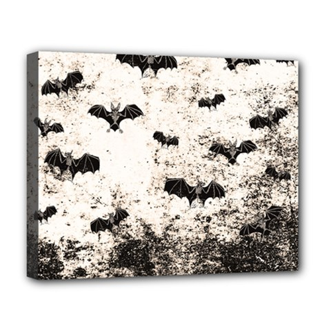 Vintage Halloween Bat Pattern Deluxe Canvas 20  X 16