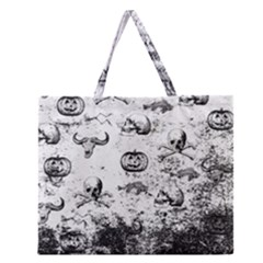 Vintage Halloween Pattern Zipper Large Tote Bag by Valentinaart