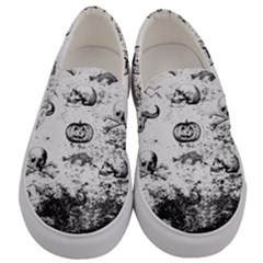 Vintage Halloween Pattern Men s Canvas Slip Ons
