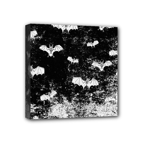 Vintage Halloween Bat Pattern Mini Canvas 4  X 4  by Valentinaart